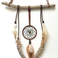 Driftwood Dream Catcher - Leather, Heart, Dragonfly and Jade Bohemian Wall Hanging