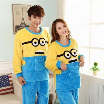 ONETOW Autumn/winter Women High-quality Flannel pajamas lovers nightgown Set Home leisure Cartoon despicable Me Long-sleeved nightgown