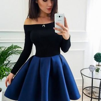 Navy Blue Off Shoulder Pleated Two Piece Tutu Skater Cute Party Mini Dress