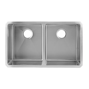 DAX-3118B / DAX 50/50 DOUBLE BOWL UNDERMOUNT KITCHEN SINK, 18 GAUGE STAINLESS STEEL, BRUSHED FINISH