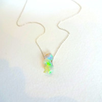 Rough Opal Pendant and 925 Sterling Silver Chain Necklace