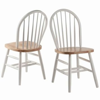 Windsor Chair 2-PC Set RTA White & Natural