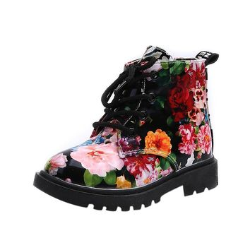 Children boots Floral printed girls shoes Winter shoes Baby Child Army Style Martin Bo