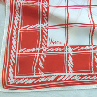 Large Vintage Vera Scarf Red Plaid Squares