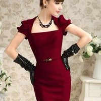 Retro Inspired Puff Sleeve Red Cocktail  Dress