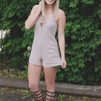 Off the Deep End Romper - Taupe