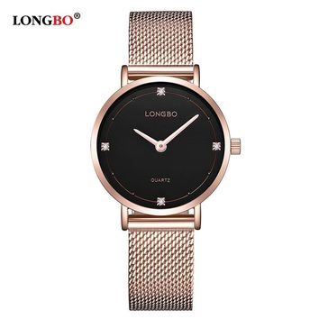 Lovers Watches Men Women Automatic Calendar Mesh Stainless Steel Adjustable band Quartz watch