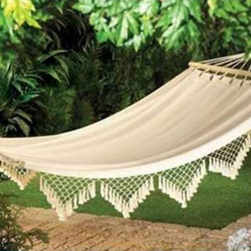 Posh Lace and Canvas Hammock
