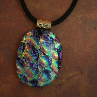Mardi Gras Dichroic Glass Pendant Necklace Fused Glass Necklace