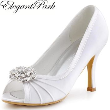White Woman High Heel Shoes Rhinestones Clips Evening Party Pumps Satin Bride Bridesmaid Womens Wedding Bridal Shoes EP2094AF