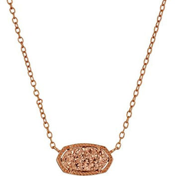 "Kendra Scott ""Signature"" Elisa Rose Gold Rose Gold Drusy Pendant Necklace"