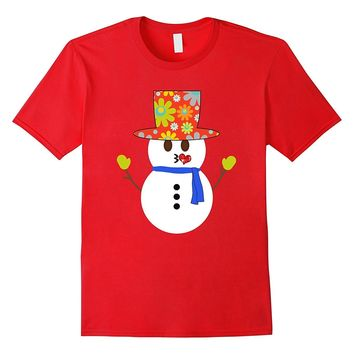 Emoji Kissy Face Snowman Floral Christmas T-Shirt for Girls