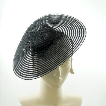 Sheer Black COCKTAIL HAT for Women - Vintage Saucer Hat
