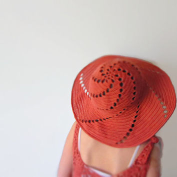 Summer Hat Wide Brimmed Crochet Salmon Pink Dahlia Marsala Peach Sea Breeze Rowan Cotton Accessory Ocean Sky Beach Sun by dodofit on Etsy