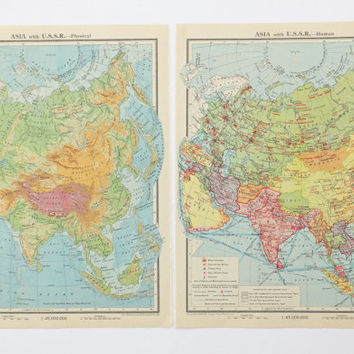 Asia with USSR Maps, Set of two Vintage Maps of Asia with USSR, post-war map, office decor, history geek