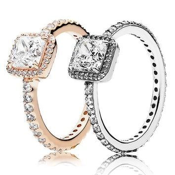 30% 925 Silver Rose Gold Timeless Elegance Rings With Crystal Fo 15cd07969