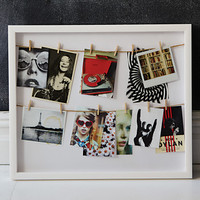 Clothesline Photo Display Shadow Box