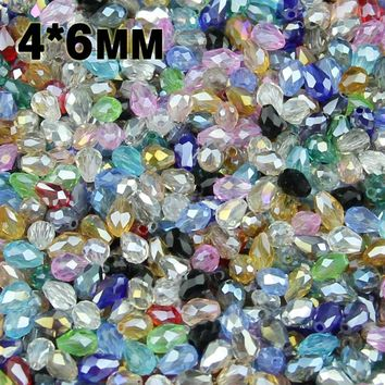 JHNBY AAA Water droplet pear shaped Austrian crystals beads 4*6mm 100pcs loose bead ball bracelet Jewelry Making Accessories DIY
