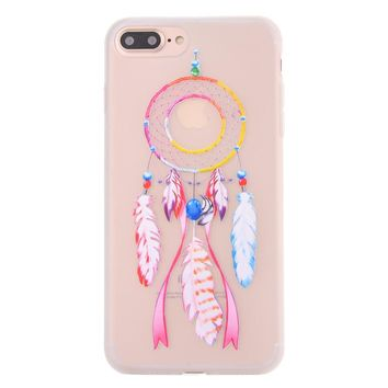 Ultra-thin Frosted Transparent TPU Protective Cover Wind Chime Printed Flexible Soft Impact-resistant TPU Cell Phone Case for iPhone 7 Plus (Transparent)