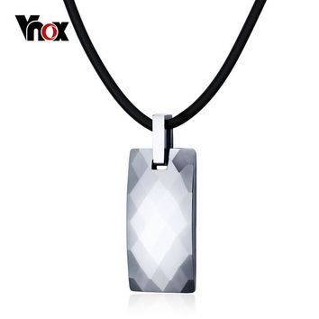 Vnox High Quality Tungsten Necklace Pendant Healthy Care Magnetic Hematite Stone Men Jewelry Punk