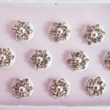 Silver Shot Round Bindis In One Pack stud with rhinestones/Indian India Bindis/Bindi Sticker/Bindi Jewels/Face Jewels/Silver round Bindis