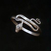 Vintage STERLING Silver SNAKE Bangle BRACELET Art Deco Serpent Design, Adjustable to Arm Band, Size 7.5 to 10