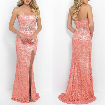 Euro Type Sheath Sweetheart Vestidos de novias longo Crystals 2015 Latest Lace Prom Dresses Side Slit Long
