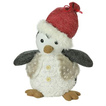 """12"""" Plush Christmas Sitting Penguin in Faux Fur Vest and Red Beanie Santa Hat"""