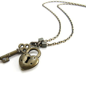 Antiqued Brass Heart and Key Long Necklace Heart Padlock and Skeleton Key Charm Necklace