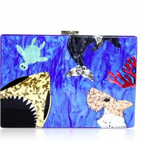 Sea Creature Blue Acrylic Box Clutch