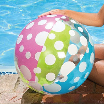 """24"""" Blue, Green, White and Pink 6-Panel Polka Dot Inflatable Beach Ball Swimming Pool Toy"""