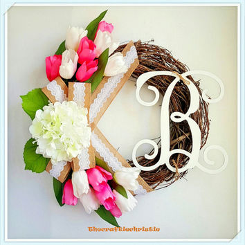 Tulip Wreath-Easter Wreath-Easter Decorations-Spring Wreath-Front Door Monogram Wreath-Spring Wreath Front Door-Spring Wreath Monogram