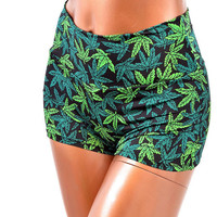 Pot Weed Marijuana Print High Waist Pinup by CoquetryClothing