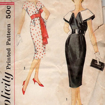 Simplicity 50s 60s Sewing Pattern 2909 Fitted Wiggle Sheath Kimono Sleeves Large Shawl Collar Deep V Neck Obi Sash Bust 36