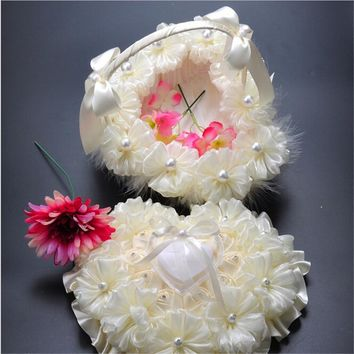 Lace Pearl Big Heart Shape Flower Girl Basket