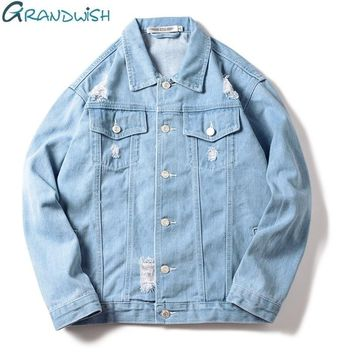 Grandwish Men Denim Jeans Jacket Ripped Holes Plus Size S-3XL Mens Jeans Jacket Blue Slim Fit 2018 New Casual Vintage Tops,DA716