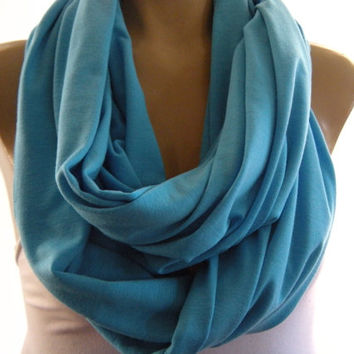 Turquoise blue jersey infinity scarf,  Nomad Cowl,   Turquoise loop scarf , Super soft