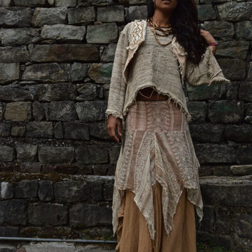 Layered Long Bohemian Skirt Made from Block print cotton