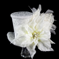White on White Oversized Poinsettia Holiday Christmas Mini Top Hat Fascinator, Alice in Wonderland, Mad Hatter Tea Party, Derby Hat