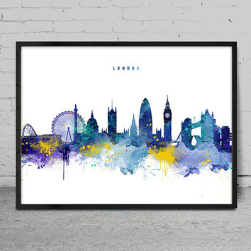 London Skyline, Watercolor Art Print, London Wall Art Print, Home Decor, Watercolor Painting, London Cityscape Art Print -x133