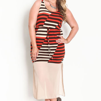 Plus Size Chiffon Bottom Striped Maxi Dress