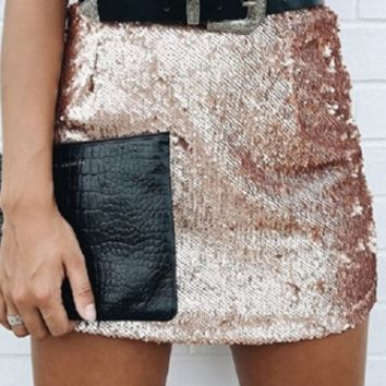 Snap This Gold Sequin Bodycon Mini Skirt