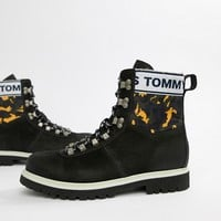 Tommy Jeans hiking boot with camo print in yellow navy and green in black at asos.com