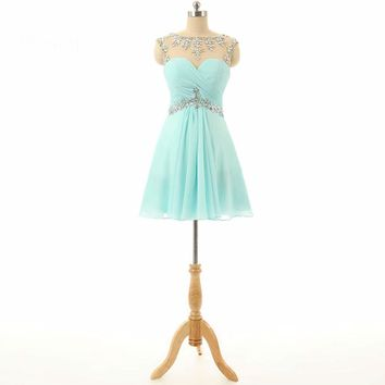 Lovely A line Cap sleeve Beaded Chiffon Prom Dresses Short Party Dresses