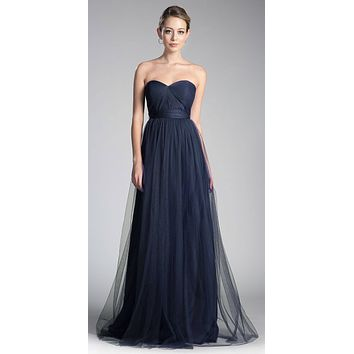 Tulle Infinity Style Long Bridesmaids Dress Navy Blue