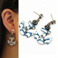 Fast shipping Hot Blue Marine Anchor Rose Bronze Fashion Earrings