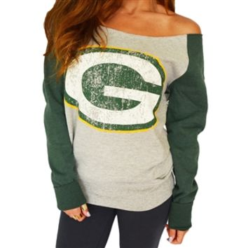 Green Bay Packers Off Shoulder Sweatshirt | SportyThreads.com