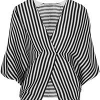 Etro - Wrap-effect striped ribbed silk top