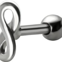 A-Infinity Cartilage Earring 16g-18g- Figure 8 Infinity Symbol-Short Stainless Steel Helix Barbell