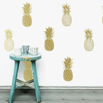 Pineapple Wall Decals - Pineapple Decals, Pineapple Decor, Pineapple Gift, Gift for Her, Wall Decor, Wall Stickers, Pineapple Wall Art ga12